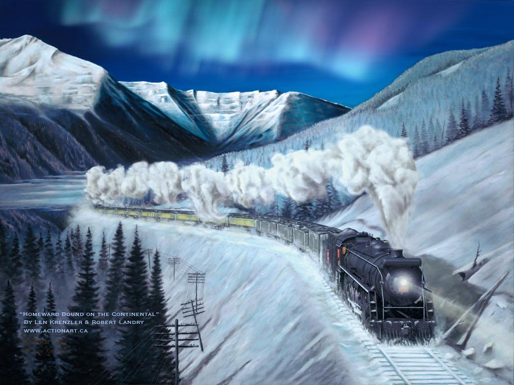 Artistic Wallpaper: Len Krenzler and Robert Landry - Homeward Bound on the Continental