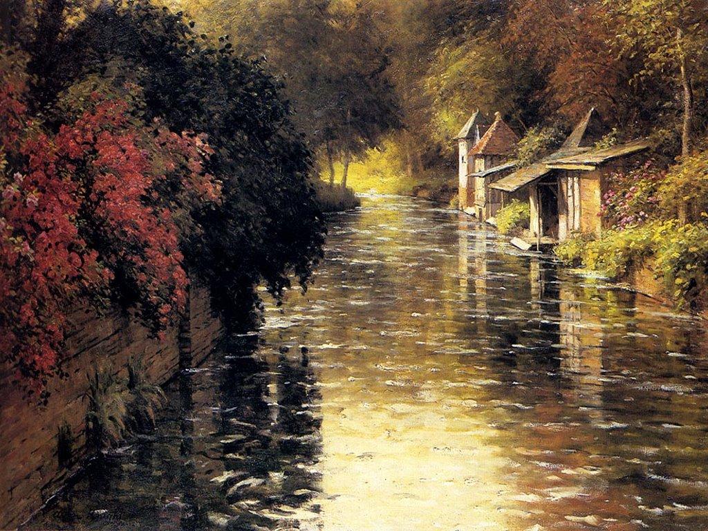 Artistic Wallpaper: Louis Aston Knight - A French River Landscape