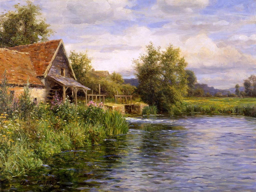 Artistic Wallpaper: Louis Aston Knight - Cottage by the River
