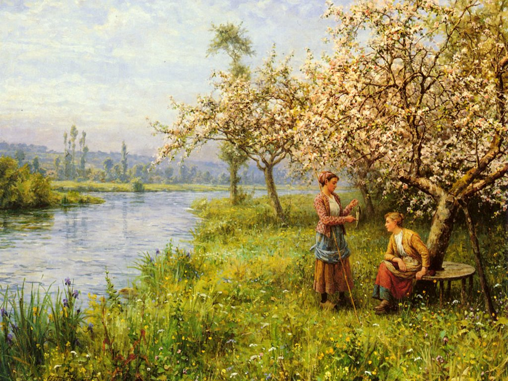 Artistic Wallpaper: Louis Aston Knight - Country Women After Fishing