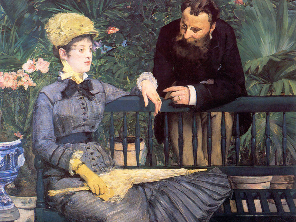 Artistic Wallpaper: Manet - In the Conservatory (Study of M. and Mme Jules Guillemet)