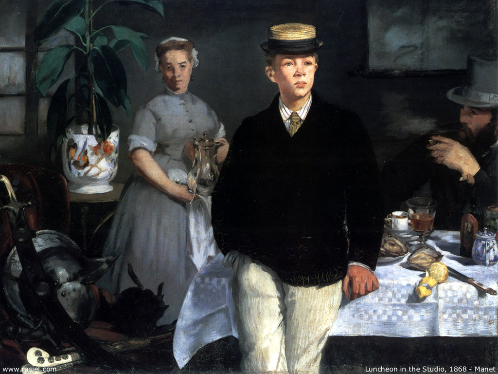 Papel de Parede Gratuito de Artes : Manet - Luncheon in the Studio