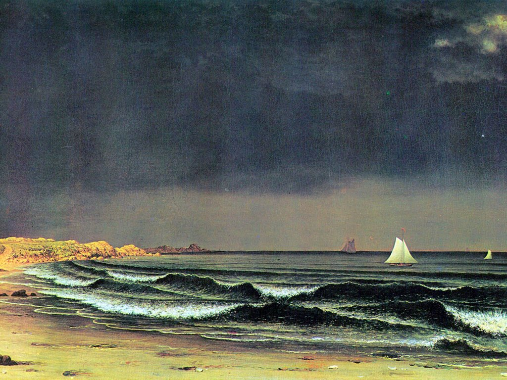 Artistic Wallpaper: Martin Johnson Heade - Emerging Storm at Narragansett Bay