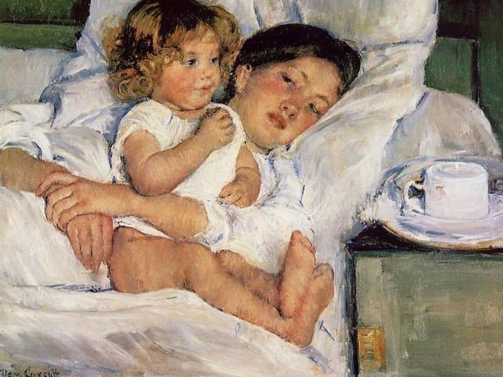Artistic Wallpaper: Mary Cassat - Breakfast in Bed