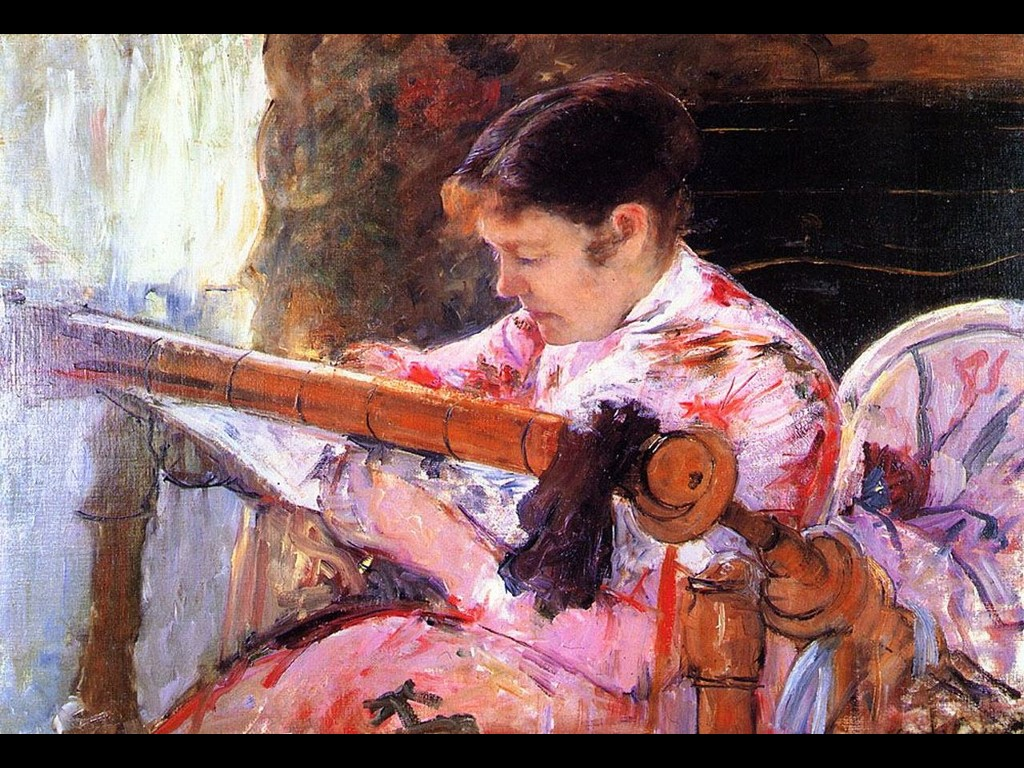Artistic Wallpaper: Mary Cassat - Lydia at the Tapestry Loom