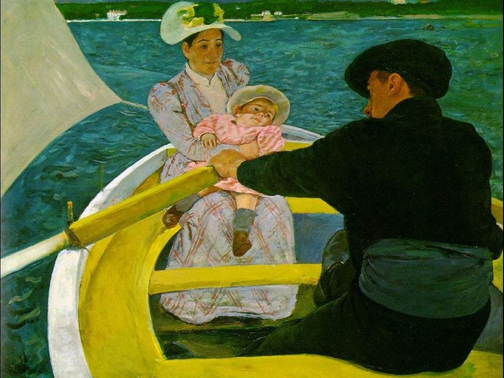 Papel de Parede Gratuito de Artes : Mary Cassat - The Boating Party