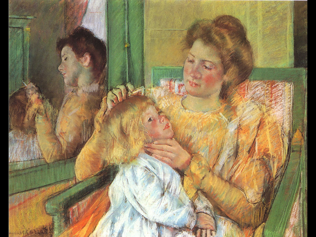 Artistic Wallpaper: Mary Cassatt - Mother Combing Her Child's Hair