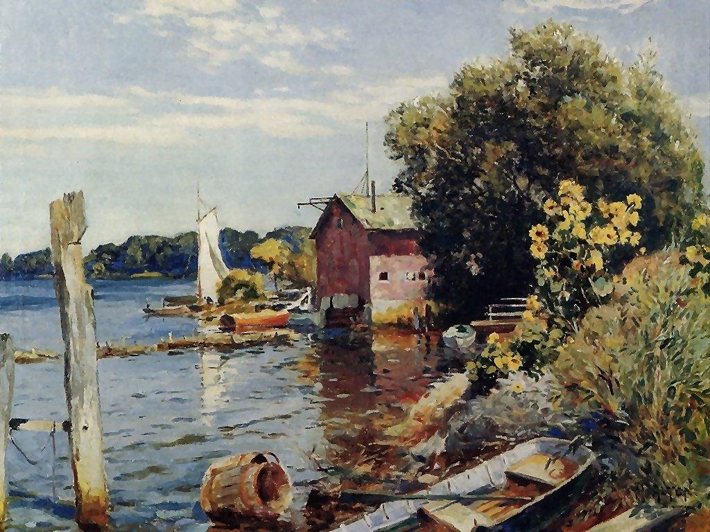 Artistic Wallpaper: Mathias - Summer on the Kalamazoo River Saugatuck