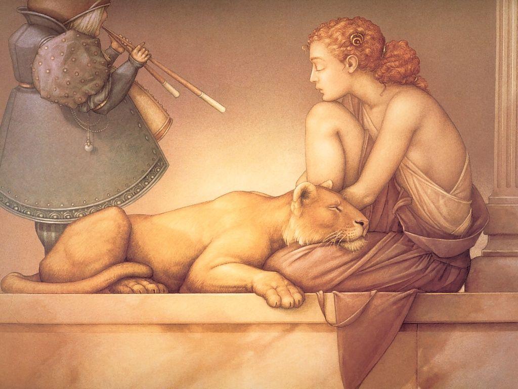 Artistic Wallpaper: Michael Parkes - Flute Meditation
