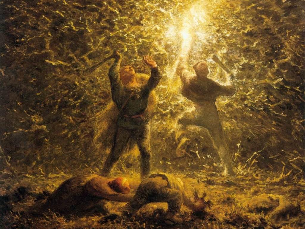 Artistic Wallpaper: Millet - Hunting Birds at Night