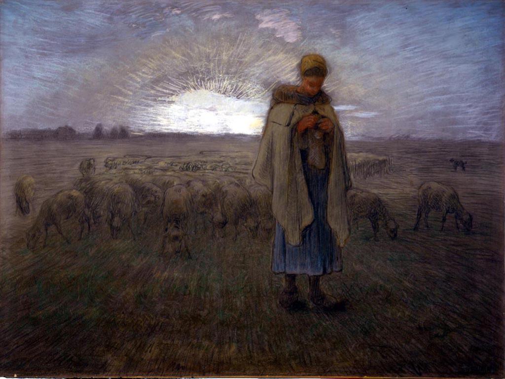 Artistic Wallpaper: Millet - Shepherdess