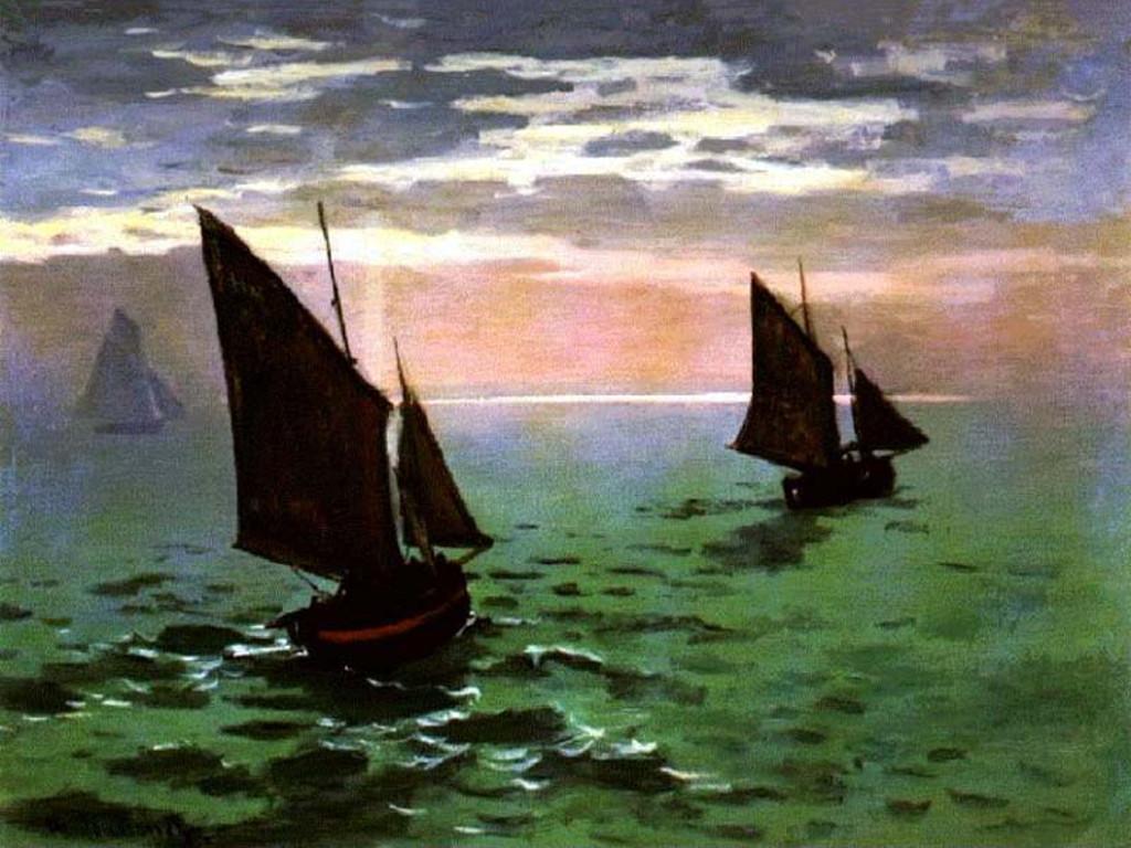 Artistic Wallpaper: Monet - Fishboats