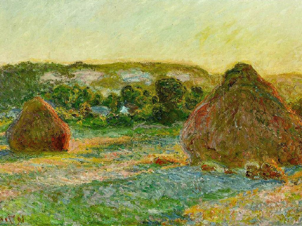Artistic Wallpaper: Monet - Haystacks