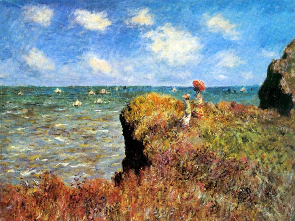 Artistic Wallpaper: Monet - La Promenade Sur La Falaise