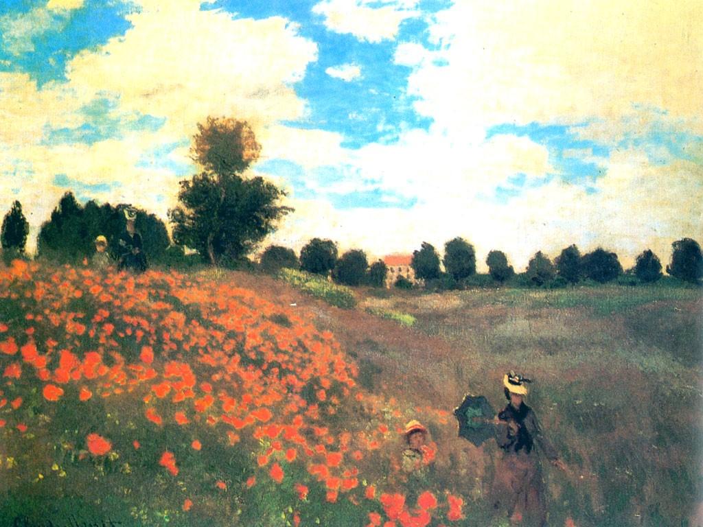 Artistic Wallpaper: Monet - Les Coquelicots a Agenteuil