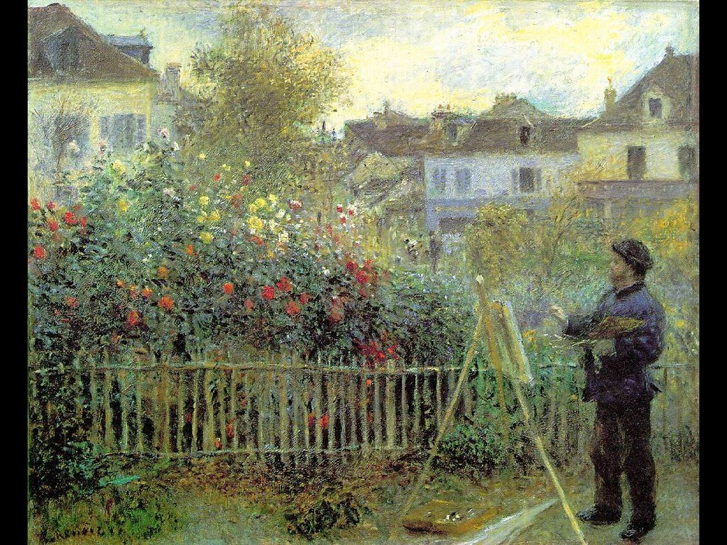 Artistic Wallpaper: Monet - Monet Painting in his Garden at Argenteuil