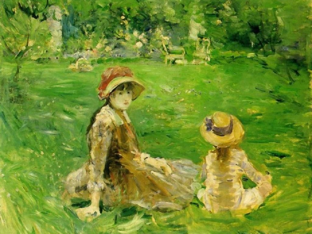 Artistic Wallpaper: Morisot - In The Garden at Maurecourt