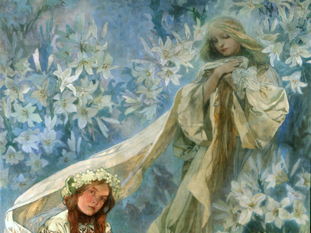 Artistic Wallpaper: Mucha - Madonna of the Lilies (Detail)