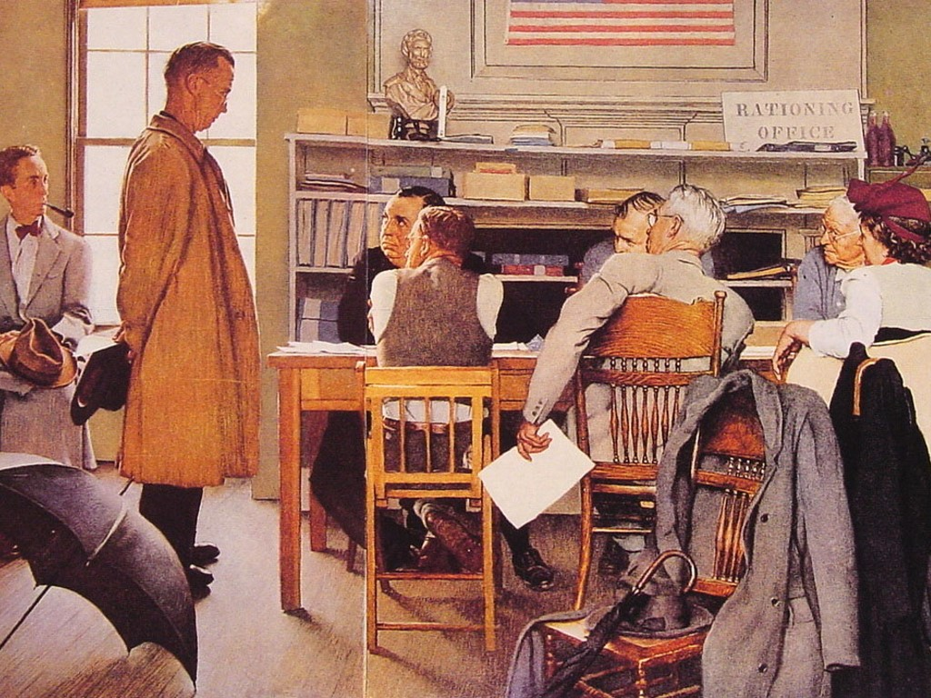 Papel de Parede Gratuito de Artes : Norman Rockwell - Rationing Office