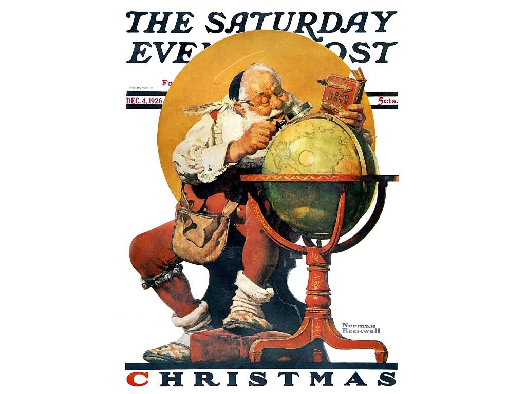 Artistic Wallpaper: Norman Rockwell - Santa