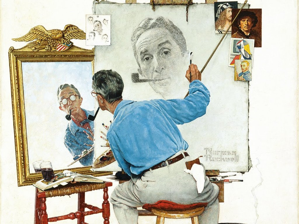 Artistic Wallpaper: Norman Rockwell - Self-Portrait