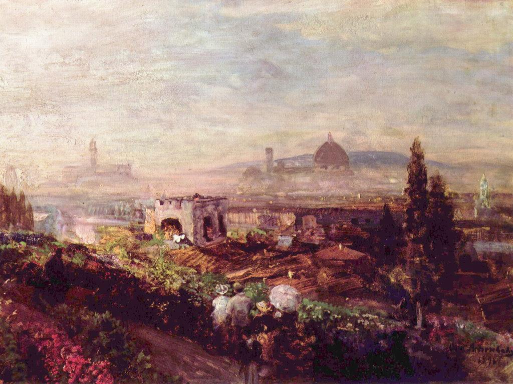Artistic Wallpaper: Oswald Achenbach - Blick auf Florenz
