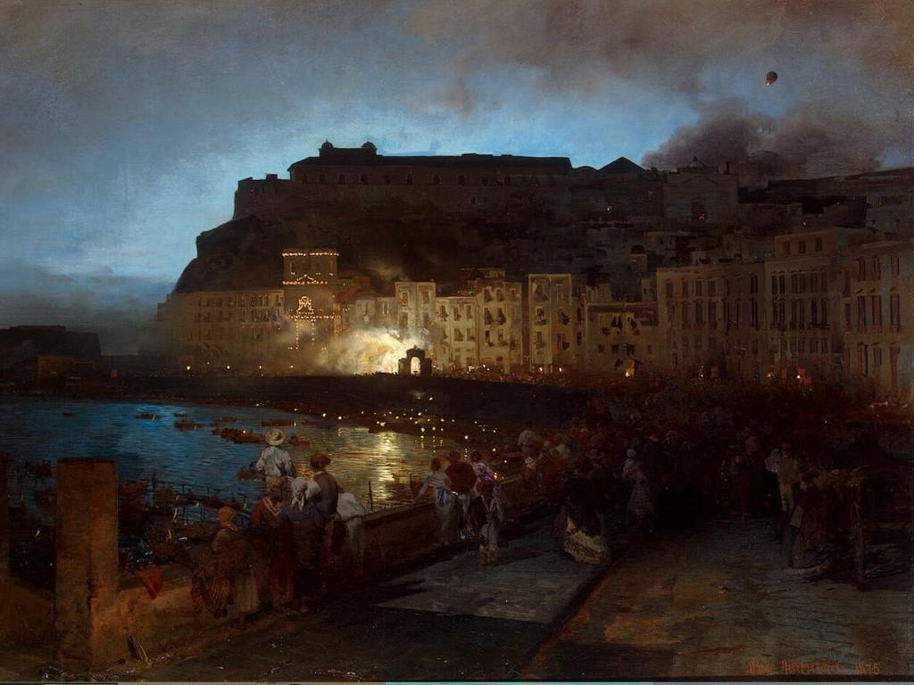 Artistic Wallpaper: Oswald Achenbach - Feuerwerk in Neapel (Santa Lucia mit Monte Echia und Castel dell'Ovo)