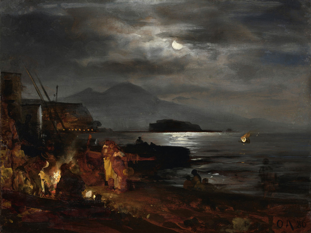 Artistic Wallpaper: Oswald Achenbach - The Bay of Naples by Moonlight