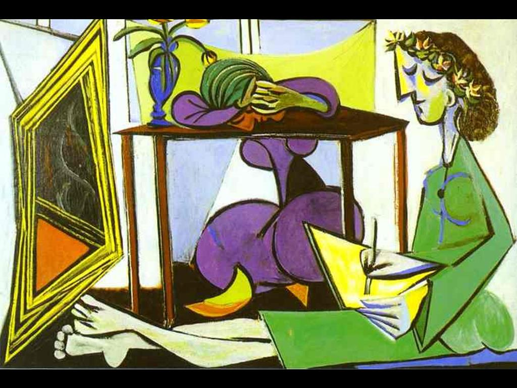 Artistic Wallpaper: Pablo Picasso - Interior With a Girl Drawing