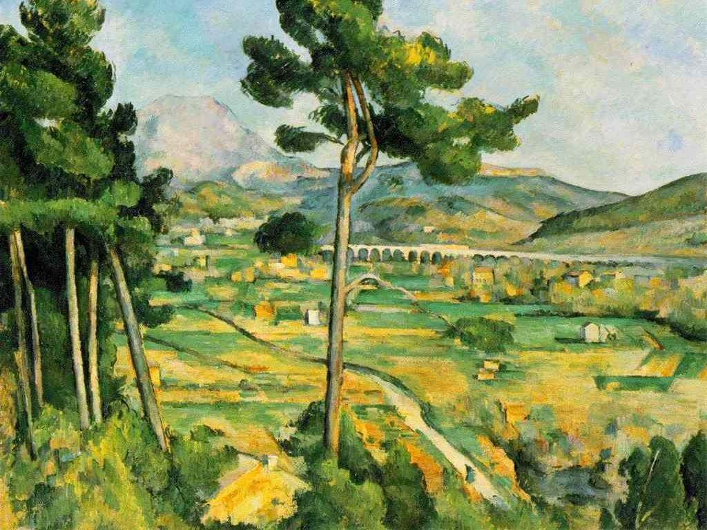 Papel de Parede Gratuito de Artes : Paul Cezanne - Mont Sainte Victoire