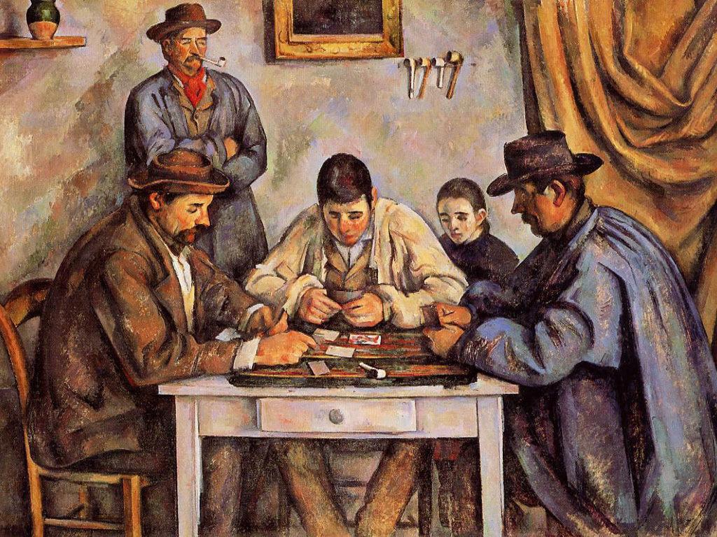 Papel de Parede Gratuito de Artes : Paul Cezanne - The Card Players