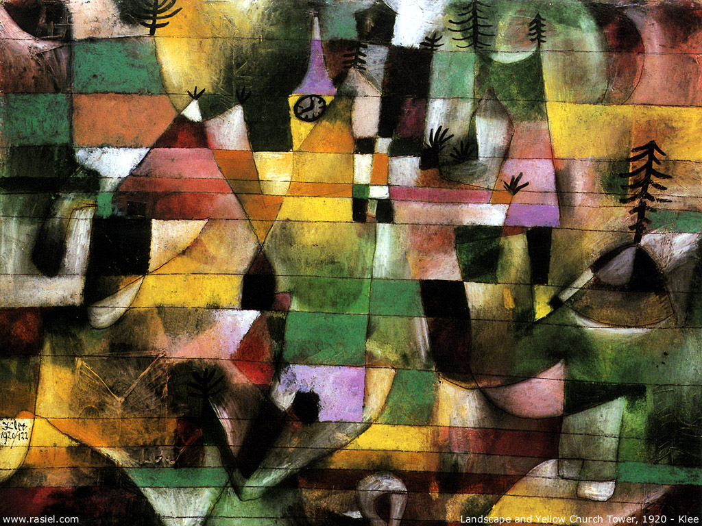 Artistic Wallpaper: Paul Klee - Landscape and the Yellow Church Tower