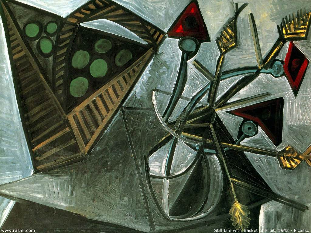 Papel de Parede Gratuito de Artes : Picasso - Still Life With Basket of Fruit