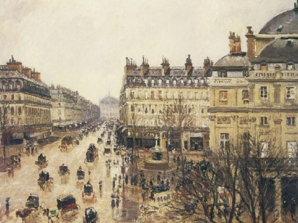 Artistic Wallpaper: Pissarro - Place du Théâtre Français (Paris: Rain)