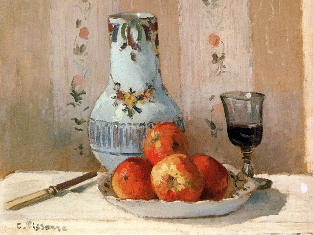 Artistic Wallpaper: Pissarro - Still Life With Apples and Pitcher