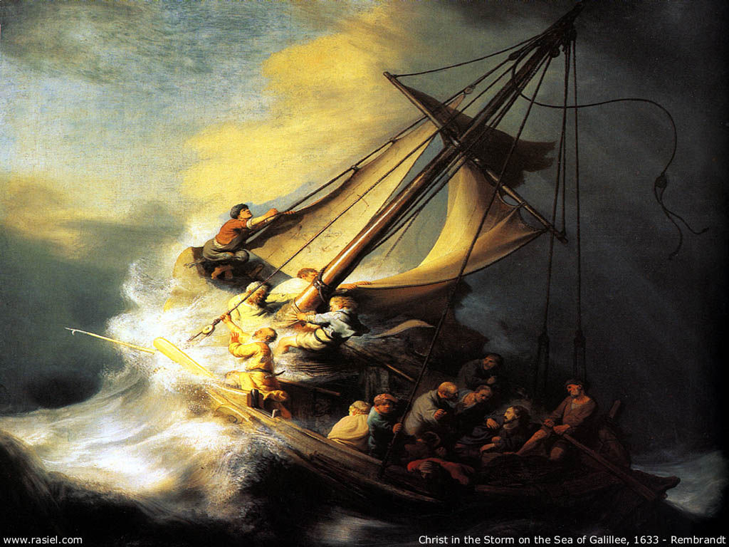 Artistic Wallpaper: Rembrandt - Christ in the Storm on the Sea of Galillee