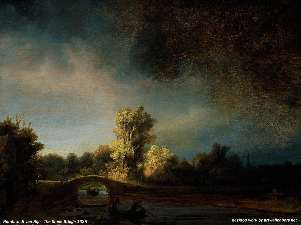 Artistic Wallpaper: Rembrandt - The Stone Bridge