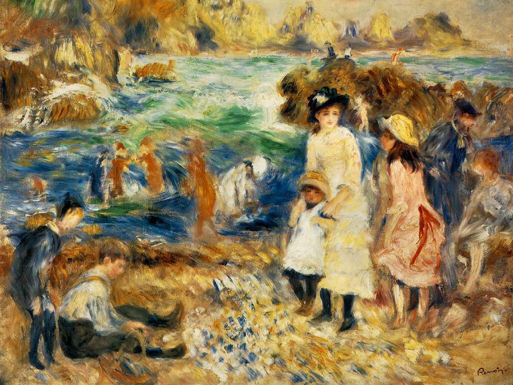 Artistic Wallpaper: Renoir - Beach Scene Guernsey