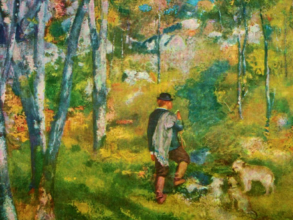 Papel de Parede Gratuito de Artes : Renoir - Young Man in the Forest of Fontainebleau