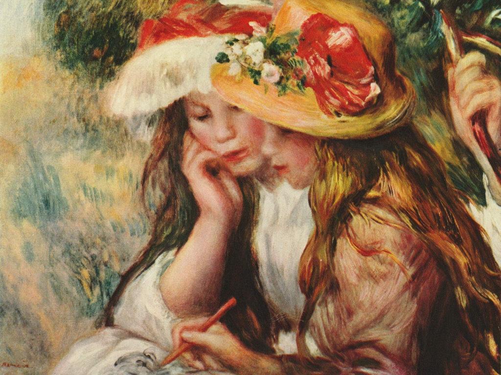 Artistic Wallpaper: Renoir - Zwei lesende Mädchen in einem Garten