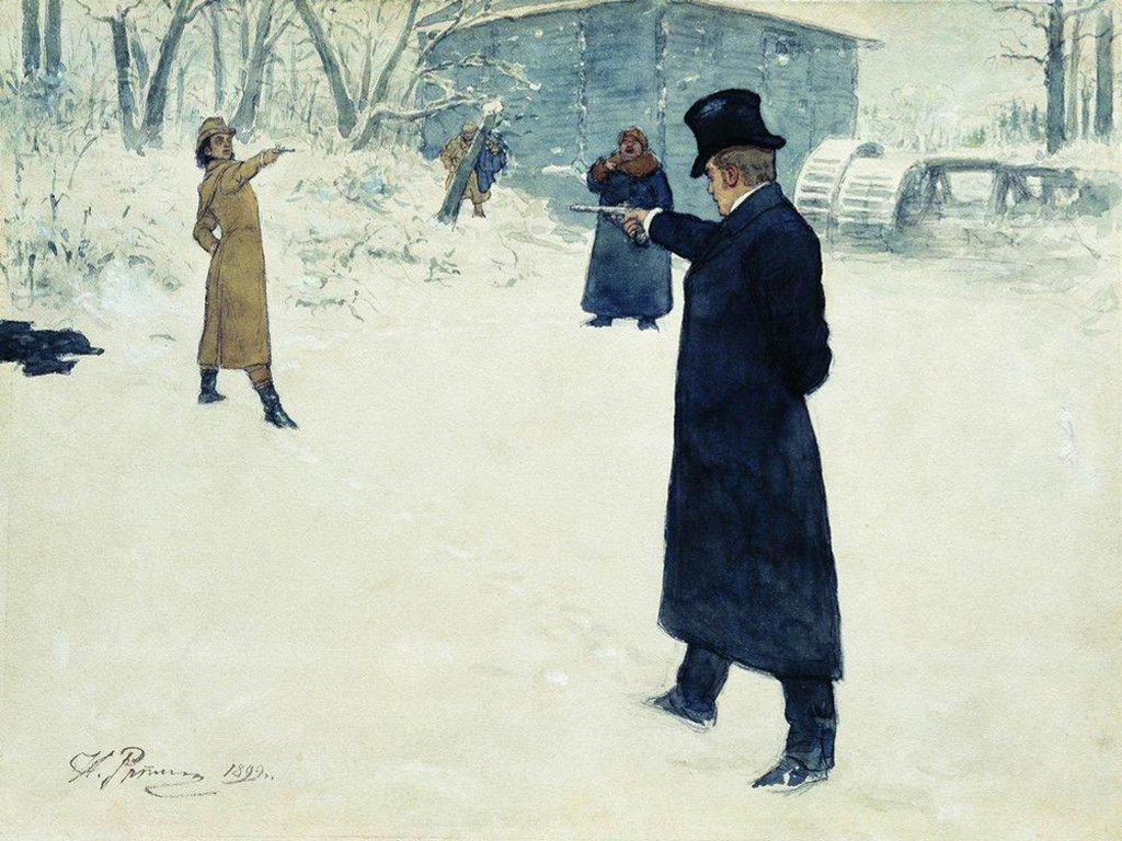 Artistic Wallpaper: Repin - Duel Between Eugene Onegin and Vladimir Lensky