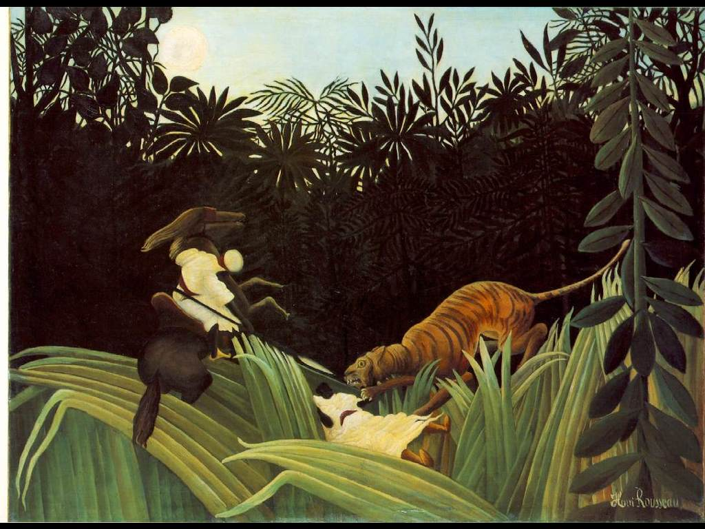 Artistic Wallpaper: Rousseau - Scout Attacked by a Tiger