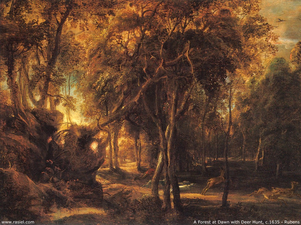 Artistic Wallpaper: Rubens - A Forest at Dawn with Deer Hunt