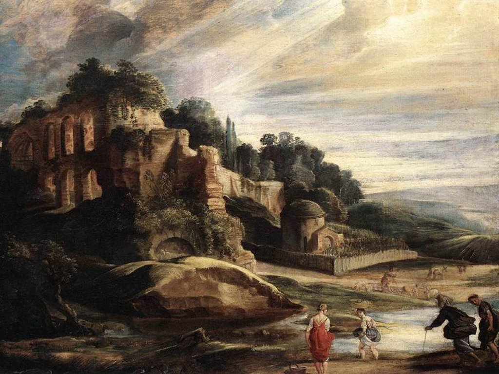 Artistic Wallpaper: Rubens - The Ruins of Mount Palatine in Rome