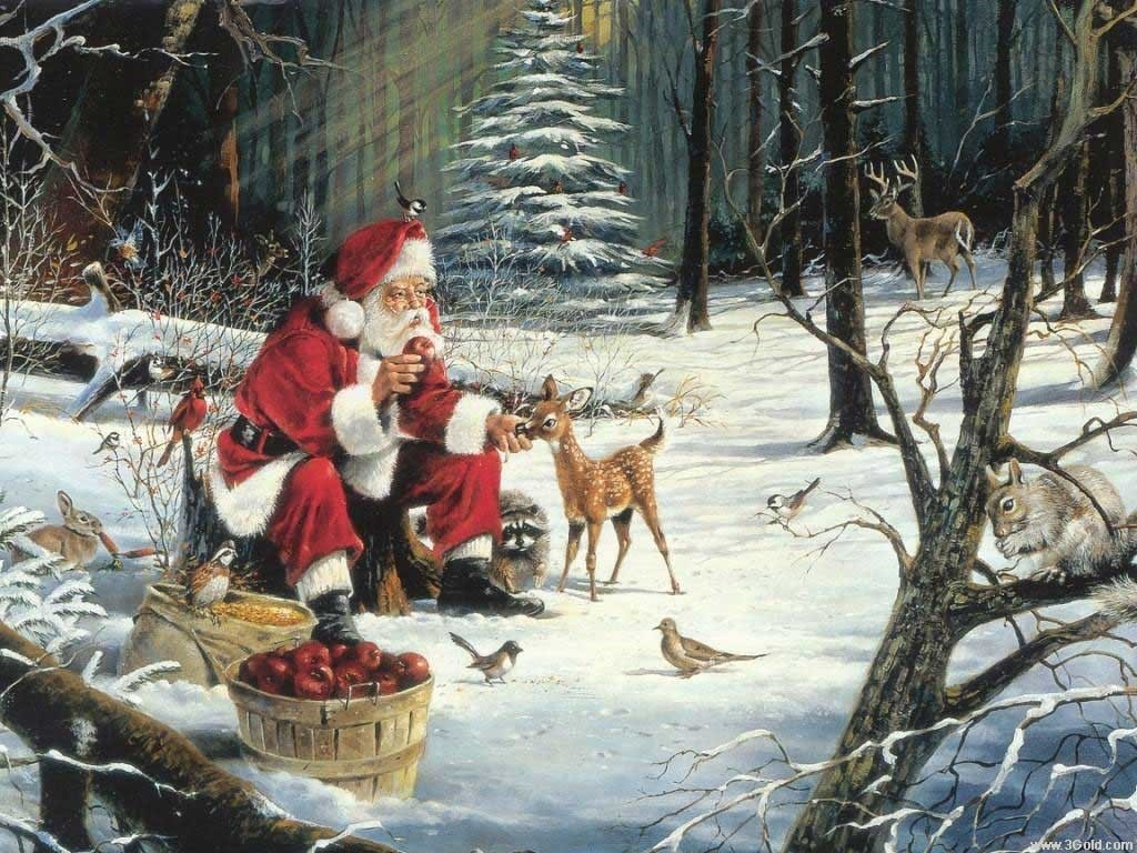Artistic Wallpaper: Santa Claus and Friends