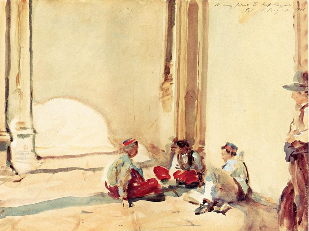 Artistic Wallpaper: Sargent - A Spanish Barracks