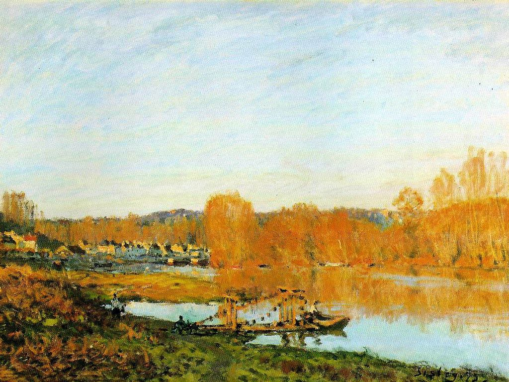 Artistic Wallpaper: Sisley - Banks of the Seine Near Bougival