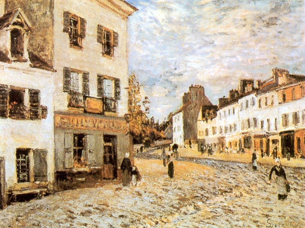 Artistic Wallpaper: Sisley - Place de Marche a Marly