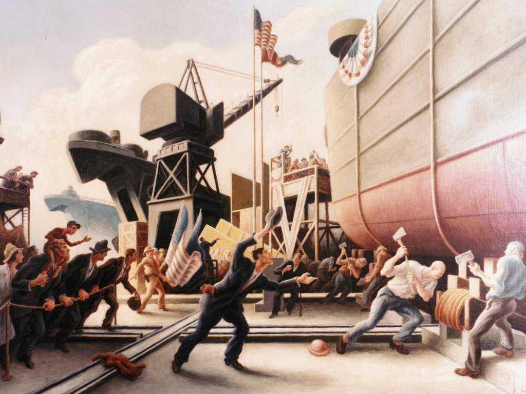 Artistic Wallpaper: Thomas Hart Benton - Cut the Line