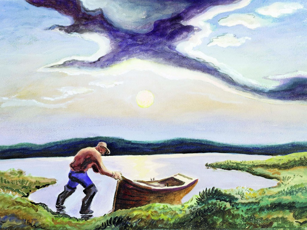 Artistic Wallpaper: Thomas Hart Benton - Fisherman at Sunset